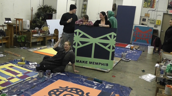 """Make Memphis"" is constructed by a series of stencils inspired by the classic architecture of South Memphis."